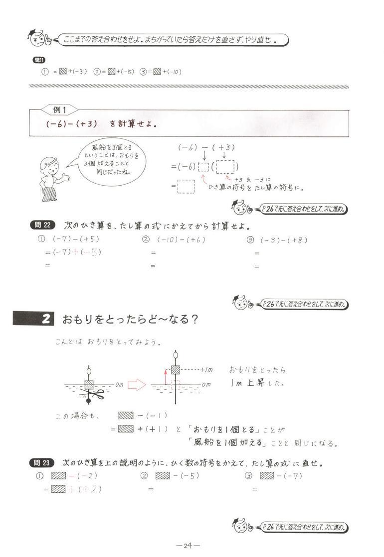 数学単元別 正負の数